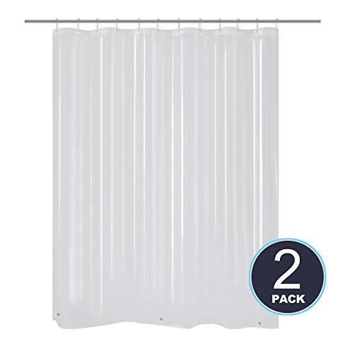 Barossa Design 2 Pack of Shower Curtain Liner Clear, Bottom Magnets, Waterproof, PVC Free, Metal Grommets, 70x72, PEVA 6 Gauge