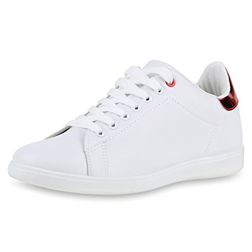 Chaussures Damen-vie Espadrille Strass Faible Glitzer Rot Weiss