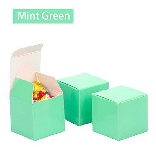 We Moment Mint Green Candy Boxes 2 x 2 x 2 inch Small Square Party Favor Boxes,350gsm,Pack of 50