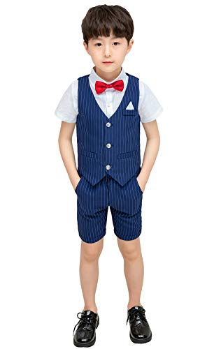 Baby Kids Boys Formal Party Summer Suit Short Sleeve Tuxedo Outfit for Boys Size 3T Blue Stripe 90cm