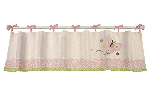 NoJo Butterfly Love Window Valance with Butterfly Applique, Pink/Green/Ivory/Brown