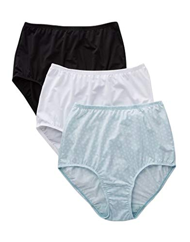 Olga Women's Without A Stitch 3 Pack Brief, Black/White/Starlight Ditsy Print L -