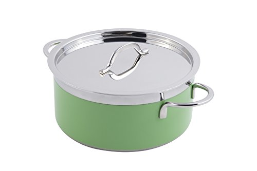 Bon Chef Stainless Steel/Aluminum Classic Country French Collection Pot with Cover, Lime, Lime