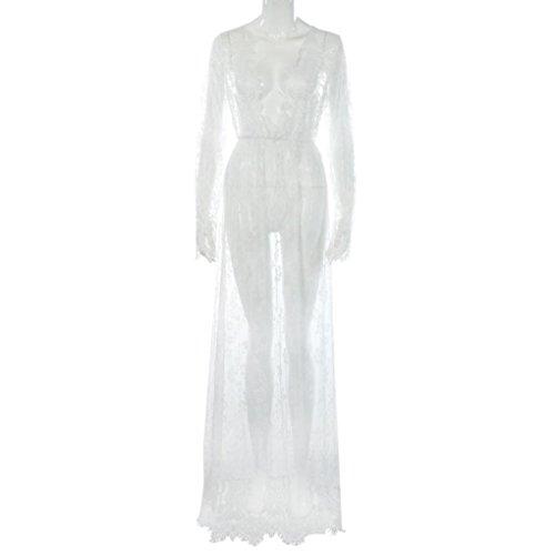 bagno Bianca chiffon da all'uncinetto lavorato maniche Costume Luoluoluo e lunghe in con bikini pizzo xO5Ev