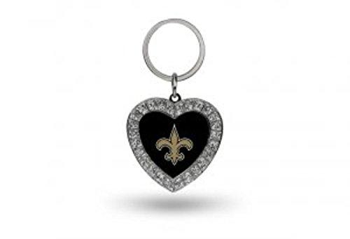 NFL New Orleans Saints Rhinestone Heart Keychain