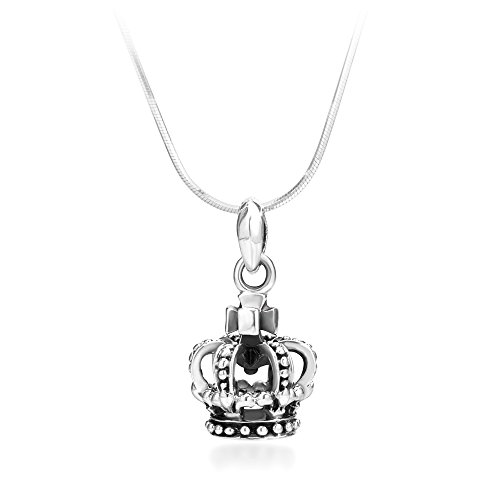 Chuvora 925 Oxidized Sterling Silver Royal Princess Crown Pendant Necklace, 18 inches