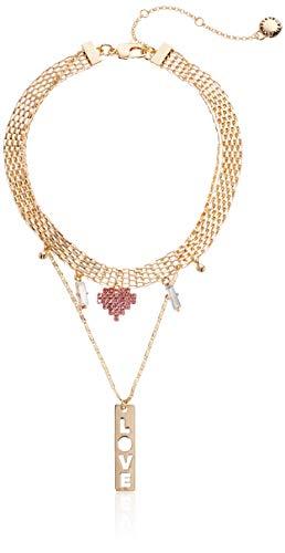 BCBG Generation Women's Love Charm Double Row Choker Necklace, Pastel Multi, One Size