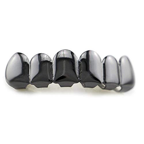6 Plating Shiny Grillz Teeth Electroplate Copper Hip Hop Teeth Top & Bottom Teeth Teeth Grill for Christmas Halloween]()