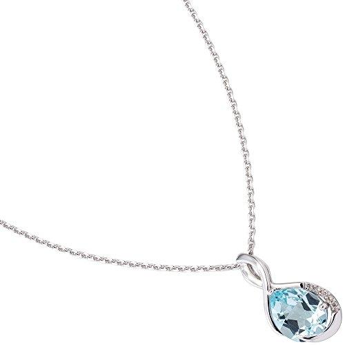 Pendentif avec topaze bleue & 5 brillants diamants or blanc 585 pour femme