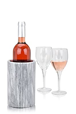 Wine Chiller Elegant Grey Marble Wine Bottle Cooler Keeps Wine and Champagne Cold with Multipurpose Use as Kitchen Utensil Holder and Flower Vase (Grey)