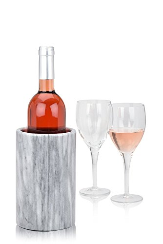 Wine Bottle Cooler Chiller Elegant Marble Grey, Keep Cold Wine and Champagne with Multipurpose Use as Kitchen Utensil Holder and Flower Vase - Modern (White Wine Chiller)