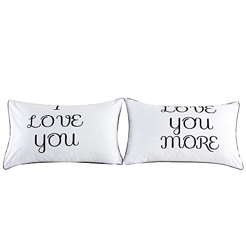 - SFE Pillow Cover Set of 2 Couples Pillow Cases Letters Printed Pillowcases Bedding Wedding Square Soft Sweater Sofa