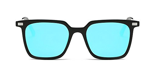 Weidan Hiker Square Eyeglasses Frame Vintage Polarized Sunglasses,Men's and Ladies926 (Black frame / ice blue lenses, - Most Eyeglass 2017 Popular Frames