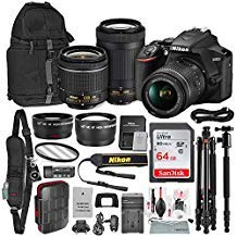 Nikon D3500 DSLR Camera with with 18-55mm and 70-300mm Lenses + 64GB Card, Tripod/Monopod, Battery, and Platinum Bundle (Best Deals On Nikon Lenses)