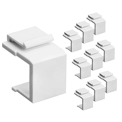 (Cmple - Blank Keystone Jack Inserts for Keystone Wallplate - 10 Pack, White)