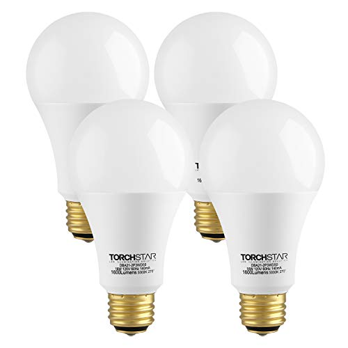 TORCHSTAR 3-Way 40/60/100W Equivalent LED A21 Light Bulb, Energy Star + UL-Listed,5000K Daylight, E26 Medium Screw Base, for Table Lamp, Bedside Lamp, Pack of 4