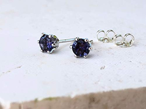 Navy Blue Iolite Gemstone Stud Earrings Sterling Silver - Mother's Day Gift for Mom