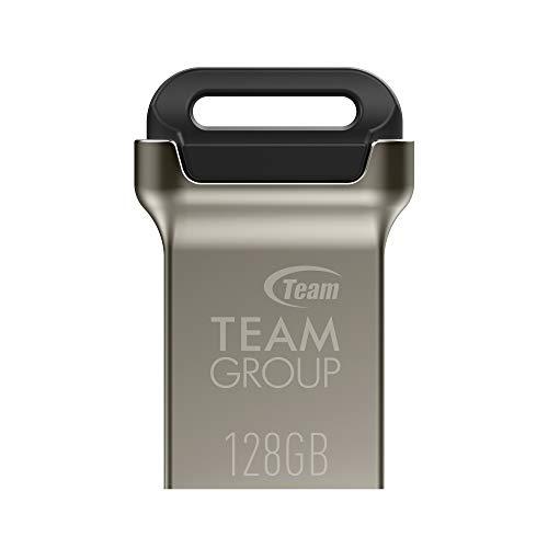 TEAMGROUP C162 128GB USB 3.2 Gen 1 (USB 3.1/3.0) Mini Fits Metal USB Flash Drive, Read up to 90MB/s, External Storage Thumb Drive Memory Stick TC1623128GB01