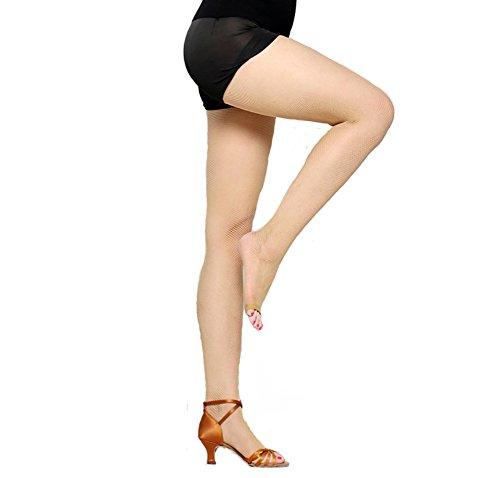 Velidy Women's Professional Dance Open Toe Fishnet Tight Stockings Latin Dance Pantyhose (flesh) ()