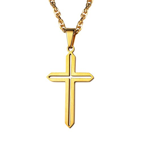 - PROSTEEL Gold Cross Necklace Christian Jewelry Religious Catholic Baptism Women Men Faith Protection Simple 18K Plated Cross Pendant Chain