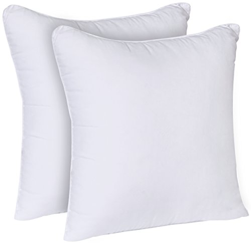 Utopia Bedding Throw Pillows Insert (Pack of 2, White) – 18 x 18 Inches Bed and Couch Pillows – Indoor Decorative Pillows