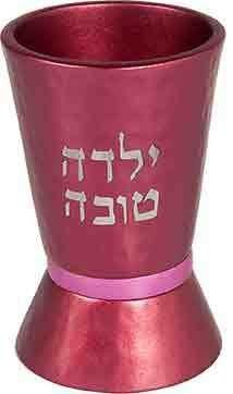 Yair Emanuel Hammered Nickel Girl's Kiddush Cup - Pink (YTO-4)