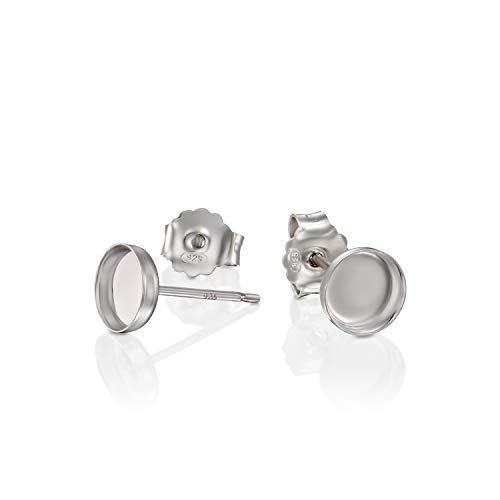 (Round Setting 925 Sterling Silver 6 mm Bezel Cups Stud Earrings with Post & Butterfly Backs, 4 Pcs (2 Pairs))