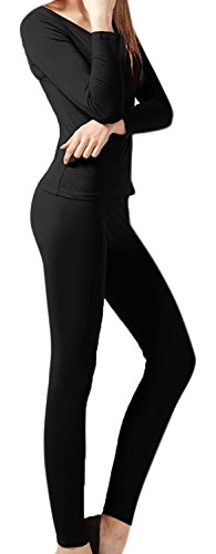 John Couture Collection (Peach Couture Womens Microfleece Ultimate Warmth Comfort Fit Thermal 2 Piece Set (Black Small))