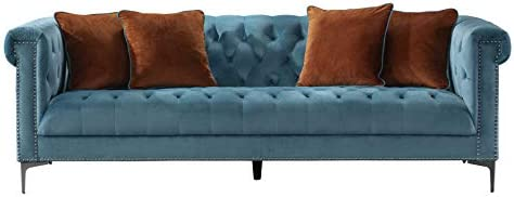 Acanva Luxury Vintage Tufted Velvet Living Room Sofa, Couch, Teal