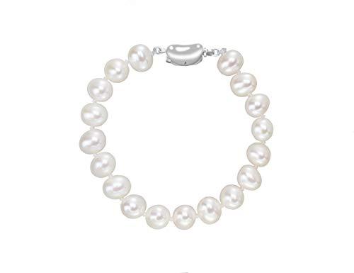 VIKI LYNN Pearl Bracelets for Women 8-9mm AAA Freshwater Cultured Pearl 925 Sterling Silver 7inch ()