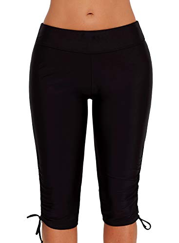 FIYOTE Women Mid Waist Swim Capris Board Shorts Rash Guard Swimsuit Pants Swimwear Small Size Black 1