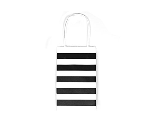 12CT SMALL BLACK STRIPE BIODEGRADABLE, FOOD SAFE INK & PAPER KRAFT BAG WITH WHITE STURDY HANDLE (Small, - Stripes Green Black