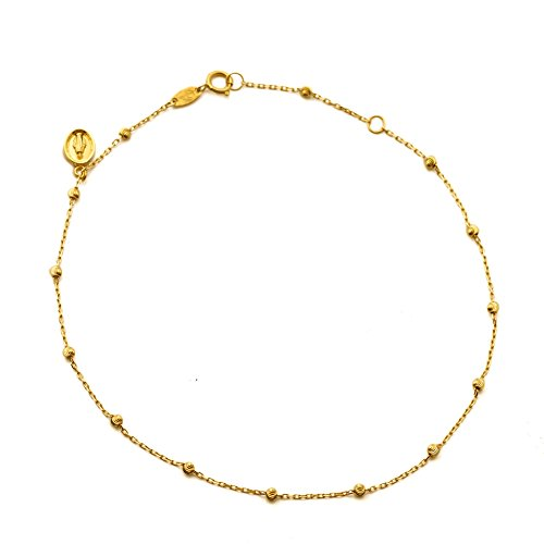 (LoveBling 10K Yellow Gold .50mm Diamond Cut Rolo Chain with a Virgin Mary Charm & Beads Anklet Adjustable 9