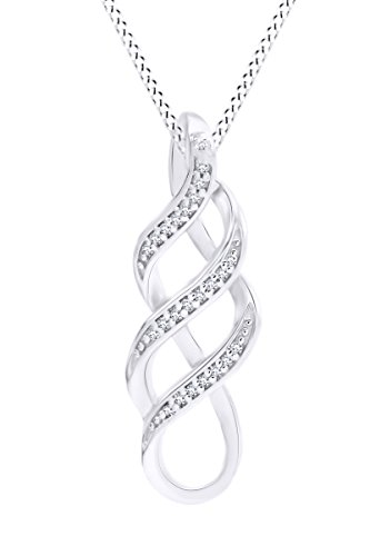 - Mothers Day Jewelry Gifts Sterling Silver Diamond Twist Pendant Necklace (1/10 cttw) 18