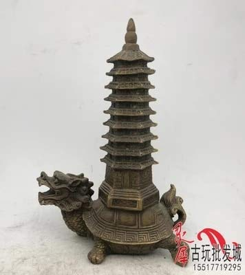 ZAMTAC Antique Brass Dragon Turtle Wenchang Tower Decoration