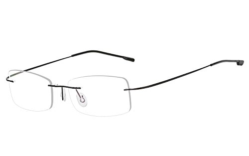 Agstum Mens Womens Titanium Alloy Flexible Rimless Frame Prescription Eyeglasses 51mm (Black, - Rimless Frames Titanium