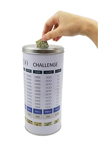 Shade and Save $5,200 Challenge Money Jar Piggy Bank TIN CAN Money Coin Bank for Saving ()