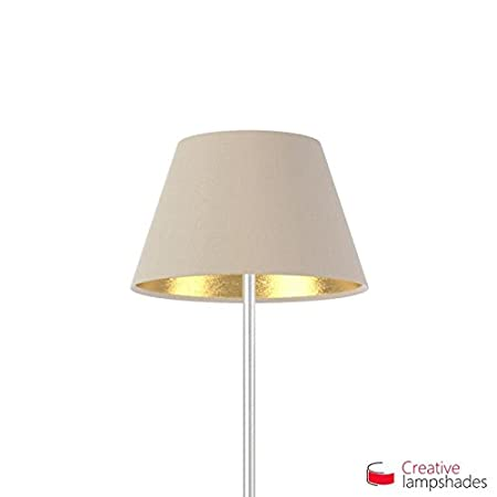 Creative Lampshades Empire Lampenschirm Haselnuss Leinwand (Innen Gold) - 2 STK Maß e. 14-8cm - H. 9.5cm, E14 Fü r Pendelleuchten, Nein