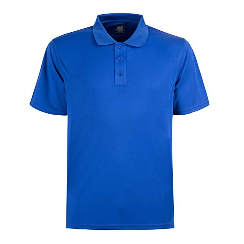 (MOHEEN Men's Short Sleeve Moisture Wicking Performance Golf Polo Shirt (Blue,M))