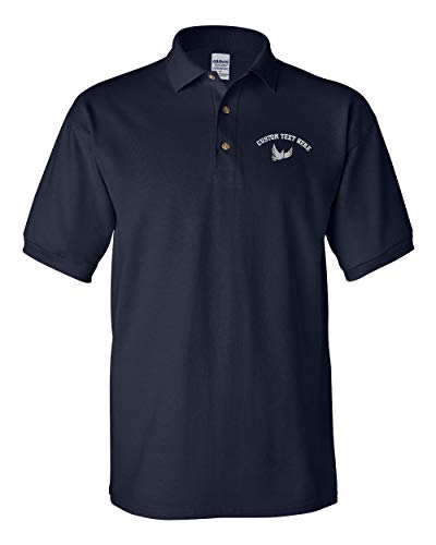 Dove Wood Print - Custom Text Embroidered Dove Style 1 Men's Adult Button-End Spread Short Sleeve Cotton Polo Shirt Golf Shirt - Navy, 3X Large