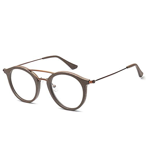Glasses Men and Women Fashion Classic Vintage Round Wood Grain Glasses Frame Glasses Frame for, Fashion Accessories (Color : 02Coffee, Size : Free)