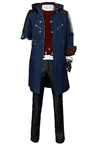 Hibuyer Men's DMC 5 Nero Cosplay Costume Adult Casual Hooded Trench Coat Outfit (Small, Style 3) ()