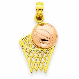Petits Merveilles D'amour - 14 ct 585/1000 bicolor Basketballkorb Or with ball Pendentif