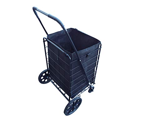 Portable Heavy-Duty Folding Shopping Cart – Fits in Trunk OR Back Seat – Never Make Two Grocery Trips Again – Liner Included