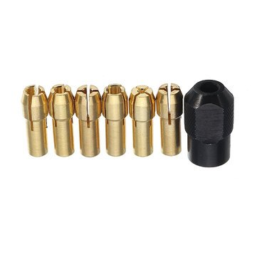 Brass Collet - Rotary Tool Collet - 6Pcs 1-3.2mm Drill Collet Chucks with M8x0.75mm Black Nut Dremel Rotary Tool Accessories ( Collet For Rotary Tool (Collet Accessory)