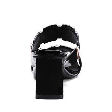 LvYuan Mujer Sandalias Pump Básico Cuero Patentado PU Verano Boda Casual Vestido Pump Básico Cadena Tacón Robusto Talón de bloque Blanco Negro5 White
