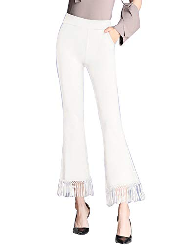 ZENTHACE Women's High Waist Bell Bottom Pants Stretch Tassel Flare Cropped Pants White X-Large