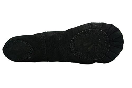 24 aus Tanzschuhe Kinder Schwarz 40 Gr Damen Ballettschläppchen für Sohle DANCEYOU Gymnastikschuh Schläppchen mit Ballettschuhe Canvas und erhältlich in Geteilte qAqgzwxa0
