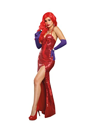 Dreamgirl Women's Va-Voom Sexy Starlet Costume Gown, red Small