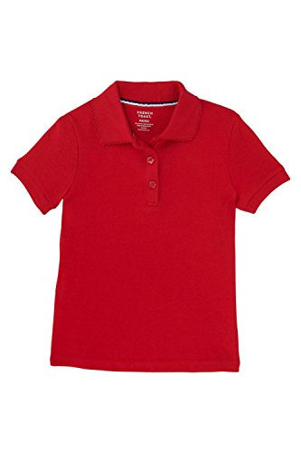 French Toast Little Girls' Short Sleeve Interlock Polo with Picot Collar, Red, 4T (Flower Red Shirts)